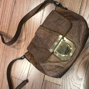 Michael Kors Brown Ostrich Leather Crossbody Purse